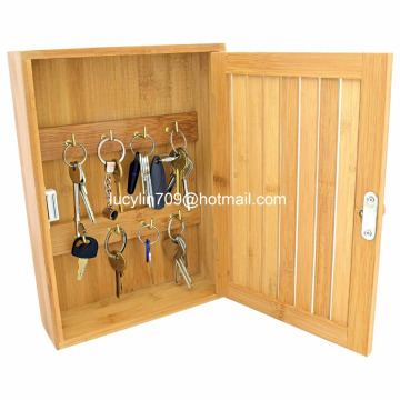 Bamboo Wall Mounted Key Box & Brackets Cupboard Hooks Holder Storage Cabinet