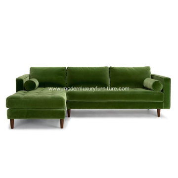 Sven Green Fabric Left Sectional Sofa