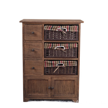 OEM/ODM for Vintage Wood Cabinet Antique storage wood cabinet with 3 wicker drawers export to East Timor Wholesale