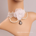 Fashion White Rose Choker With Pearl Tassel Bridal Jewelry