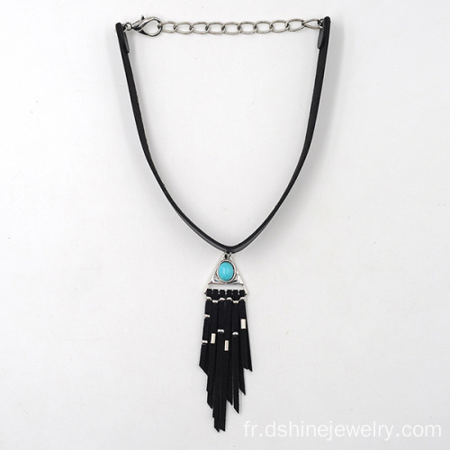 Fashion cuir Collier Collier daim Tassel collier