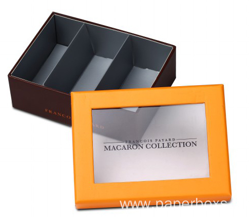 Matte Yellow Macaroon Box with PET Window