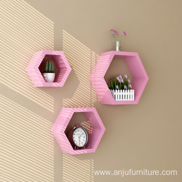 High quality 3 Piece MDF wood Hexagon Decorative Wall mount floating shelf
