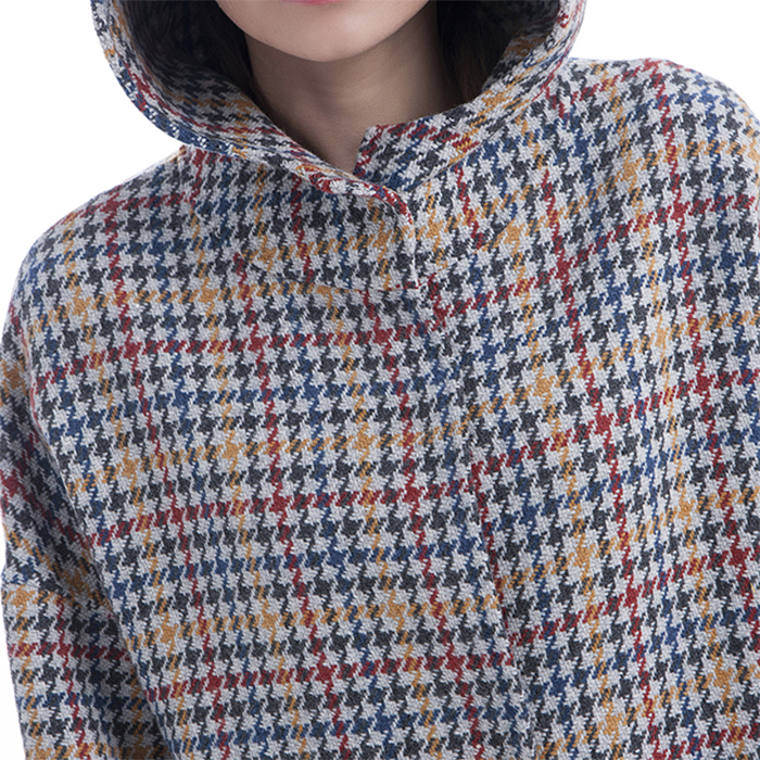 Coloured checked cashmere collar for winter wear