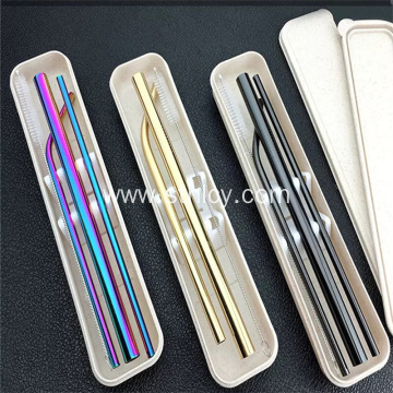 Stainless Steel Drinking Metal Straws In Three Sizes