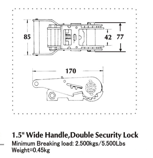 1.5 Inch Wide Handle & Double Security Lock Ratchet Buckle