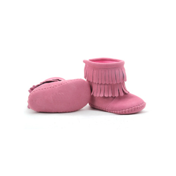 Mix Colors Pink Suede Leather Warm Baby Boots