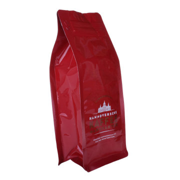 Pocket Ziplock Bags Box Bottom Pouches Plastic Red Colour Coffee Bag