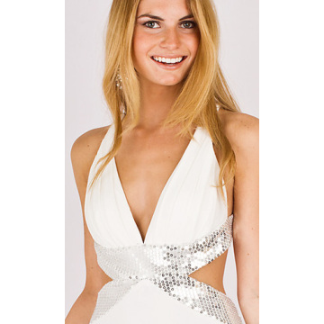column deep-V straps mini chiffon beading Cocktail Dress