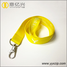 Fluorescent yellow reflective bright color polyester lanyard