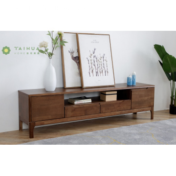 Dark Rubber Wood TV Stand 2 Drawers 2 Doors