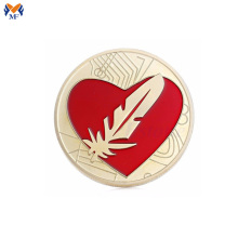 Metal enamel heart shaped coin