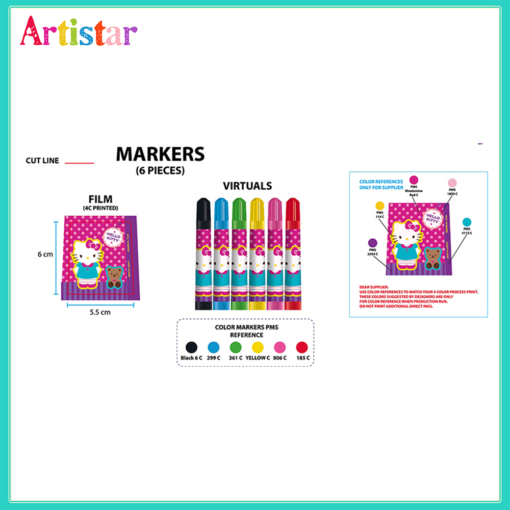 Hello Kitty Water Color Markers In Small Gun Barrel