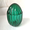 Elegant Green Glass Cactus Cookie Jar Without Handle