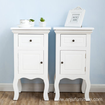 2 drawers paulownia wood wooden bedside table Cabinet Pair of Wood Chic Bedside Table 2-Drawers Cabinet Nightstand - White