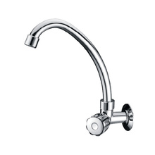 Chrome Wall Mounted Swan Neck Kitchen Faucet