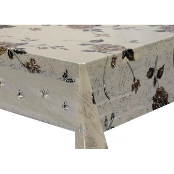 scroll Transfer Printing Tablecloth with Silver/Gold