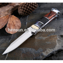 Brass Ebony Pakka Wood Folding Knife for Hunting