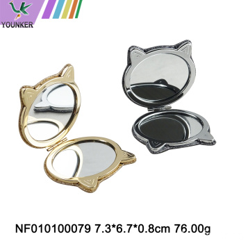 Mini folding mirror with metal frame