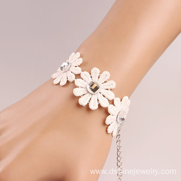 White Daisy Lace Bracelet For Women Personalized Bracelets