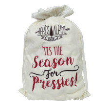 Velvet christmas sack with christmas theme pattern