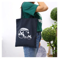 Black travel canvas tote bag