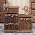 Antique storage wood cabinet with 3 wicker drawers