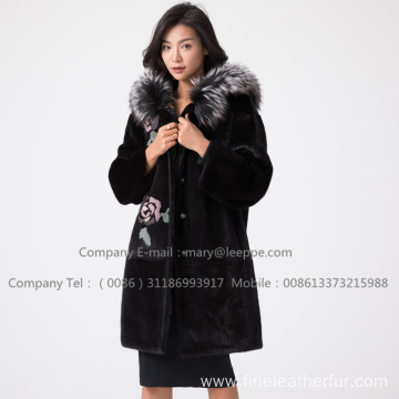 Winter Reversible Mink Fur Overcoat For Lady