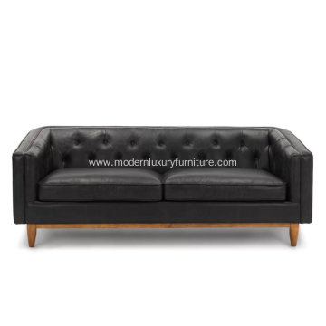 Alcott Oxford Black Leather Sofa