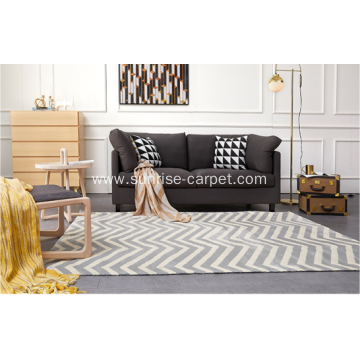 Microfiber Rug with Geometric Design for Living Room