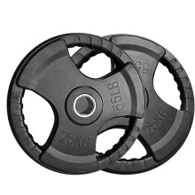 25KG Black Tri-grip Rubber Coated Olympic Weight Plate