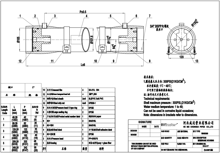 40 side port FRP membrane housings drawing
