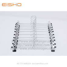 New Fashion Design for Chrome Coat Hangers EISHO Chrome Metal Pants Hanger with Clips supply to United States Factories