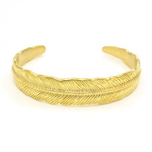 Gold plated stainless steel feather cuff bracelet
