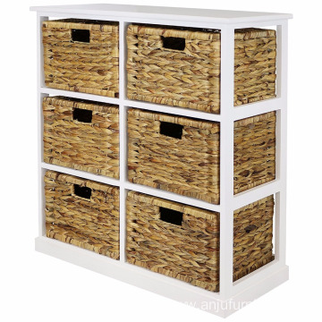 China for Wooden Cabinet 2x3 Storage Unit - 6 Drawer with Seagrass Baskets 2x3 Storage Unit - 6 Drawer with Seagrass Baskets supply to Gambia Wholesale