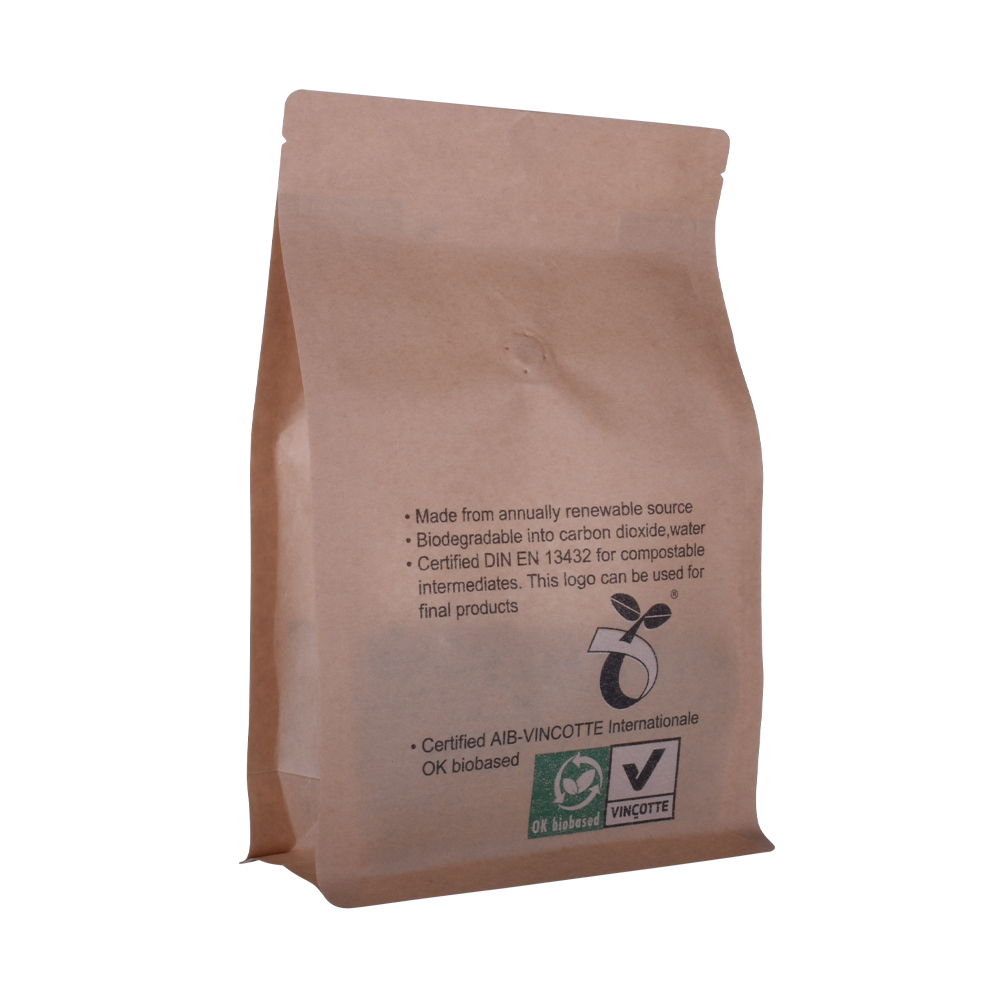 Flat Biodegradable Coffee Bag With Compostable Valve