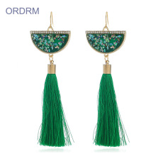 Wholesale boho long green tassel earrings