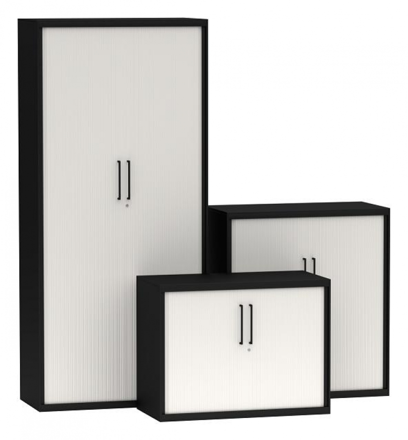 Black and white tambour door cupboard