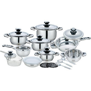 Special Price for Copper Cookware Set 21 Pieces Stainless Steel Wide Edge Cookware Set supply to Spain Factories