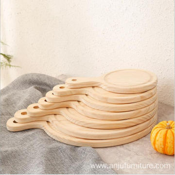 Round 6-13 inch wooden pizza tray with handle