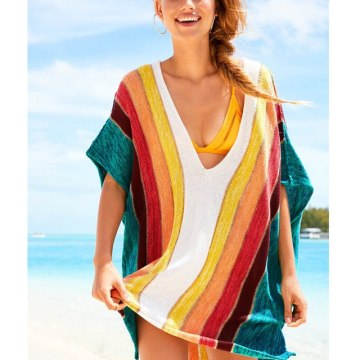 Beach stripe colorful cover up for pregnant women