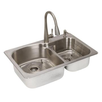 Stainless Steel 304 Kitchen Double Sink Square Shape