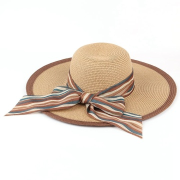 Trendy Beach Paper Straw Hat With Ribbon Bow