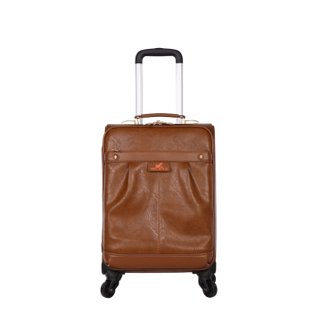 PU leather brown carry-on travel luggage