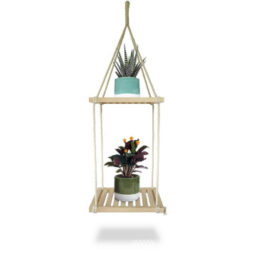 2 Wooden Square Layer Hanging Shelf Planter Holder Floating Shelves Handcrafted Wood with Rope and Hanger