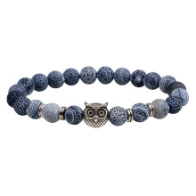 Men's natural stone bead owl charm bracelet