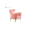 Living Room Pink Fabric Single Seater Sofa