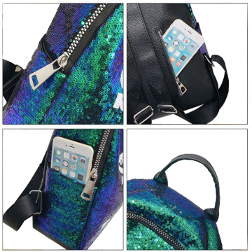Stylish Magic Sequins Backpack Girls Leisure Shining Bag