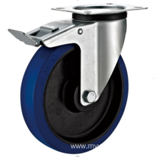 160mm  industrial rubber rigid   casters with  brakes