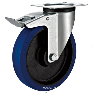 80mm  industrial rubber rigid   casters with brakes